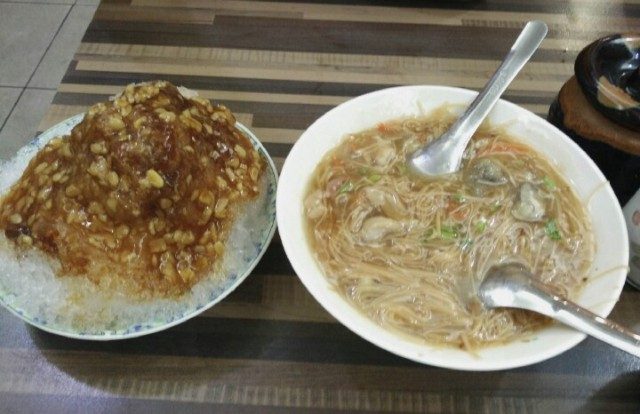 Tatung Chang mee sua and shaved ice dessert with green bean topping