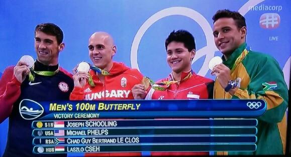 Joseph Schooling wins Olympics 100m butterfly