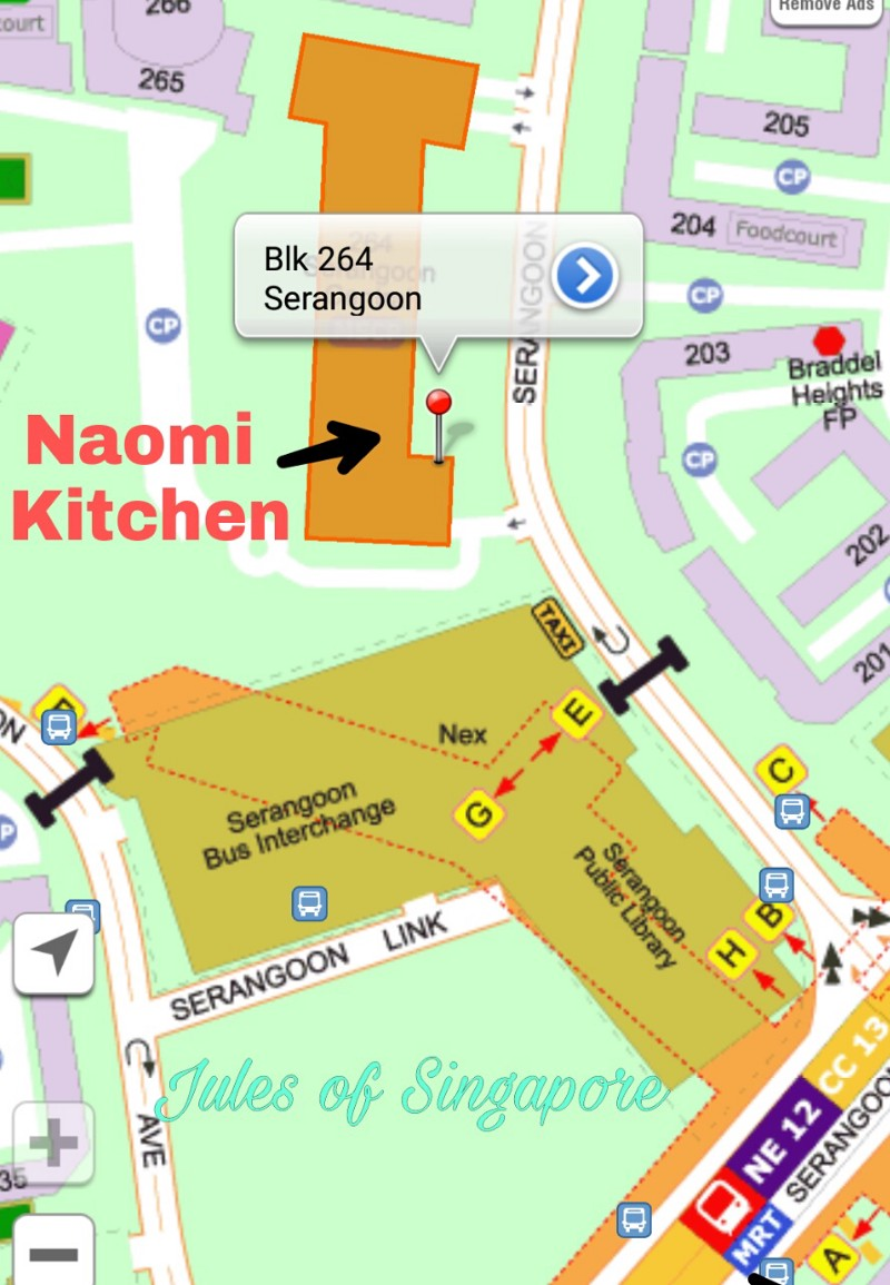 Naomi Kitchen café near Serangoon NEX Mall map